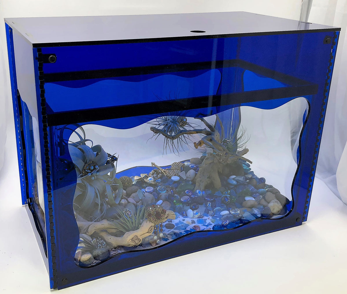 Aquarium Treasure Chest Cover - Sapphire Blue - Aquaterra Tank Decor