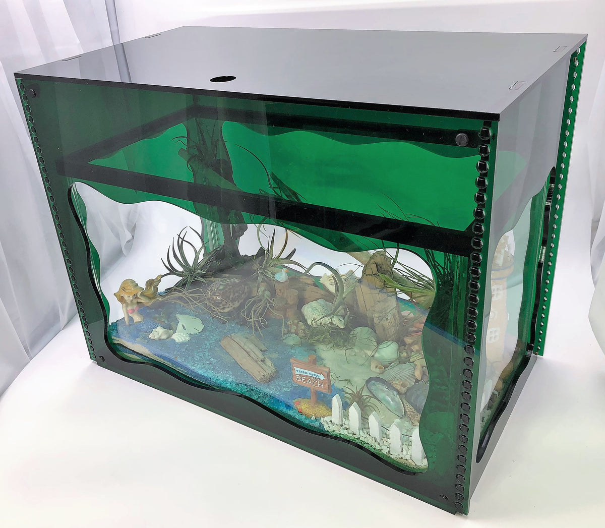 Aquarium Treasure Chest Cover - Emerald Green - Aquaterra Tank Decor