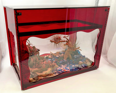 Aquarium Treasure Chest Cover - Red - Aquaterra Tank Decor