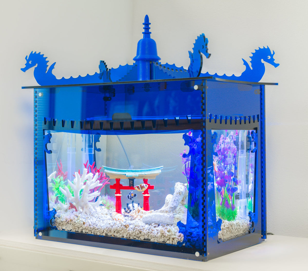Aquarium Pagoda Cover - Blue - Aquaterra Tank Decor