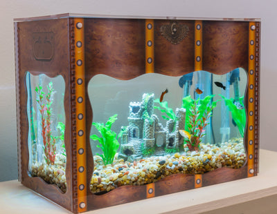 Aquarium Treasure Chest Cover - Burlwood - Aquaterra Tank Decor