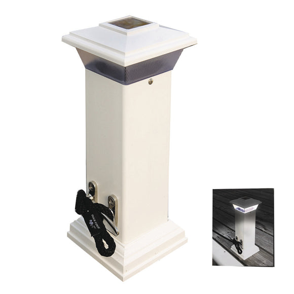 Dock Edge Cleatlite Solar Dock Light w-SS Mooring Cleat 12