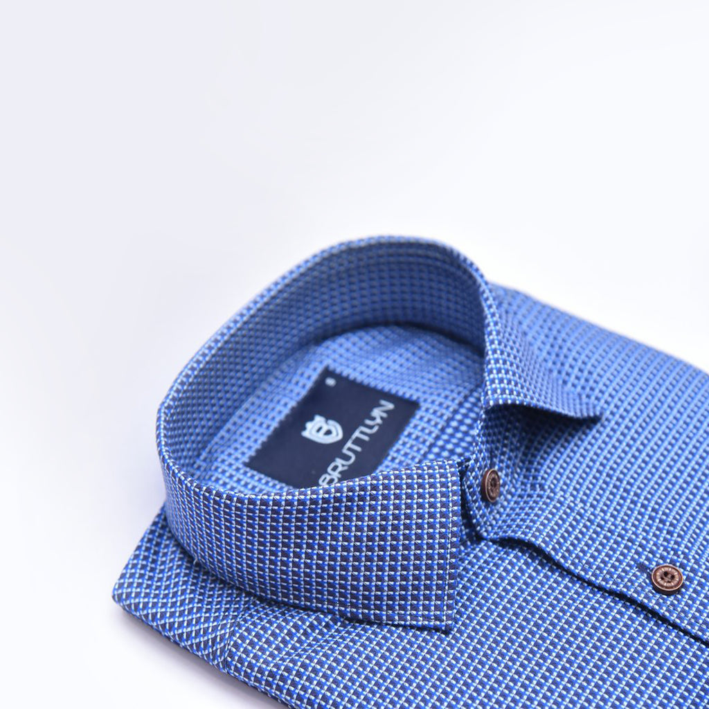 Atajo Blue Slim Fit Formal Shirt