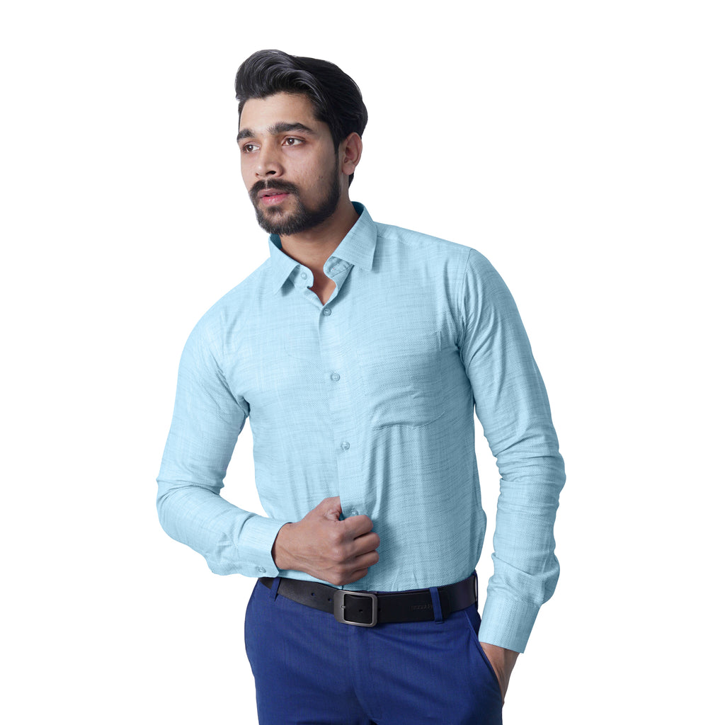 Cotlin Sea Green Slim Fit Formal Shirt - Bruttlyn
