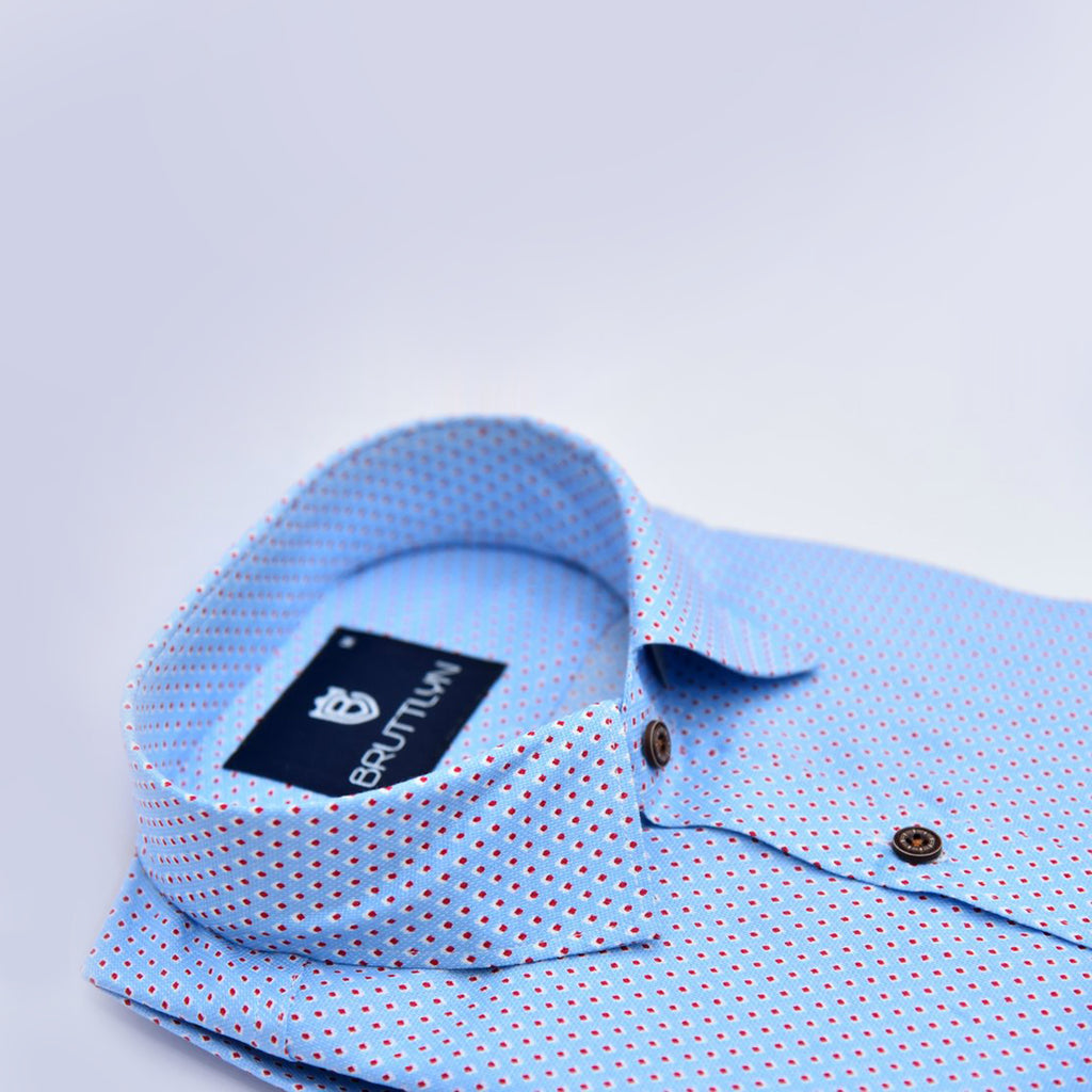 Sky Blue Printed Shirt - Bruttlyn