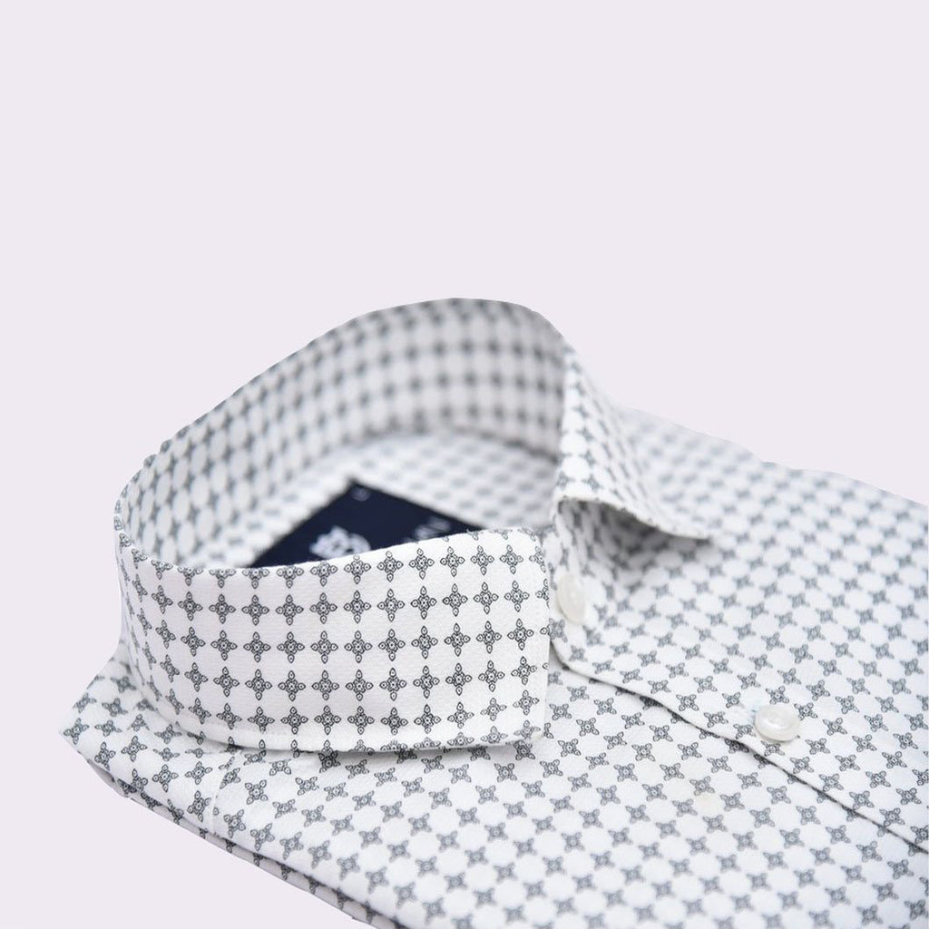 Starlight White Printed Slim Fit Formal Shirt