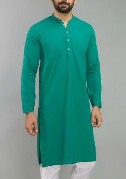 Teal Blue Khadi Kurta - Bruttlyn