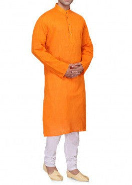 Orange Khadi Kurta - Bruttlyn