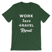 Load image into Gallery viewer, Work Save Travel Repeat T-Shirt - Travel Suppliers Plus
