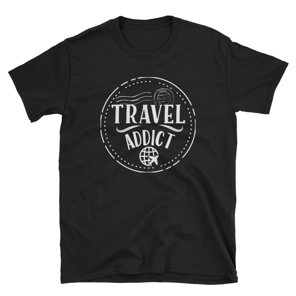 Travel Addict Passport Stamp T-Shirt - Travel Suppliers Plus