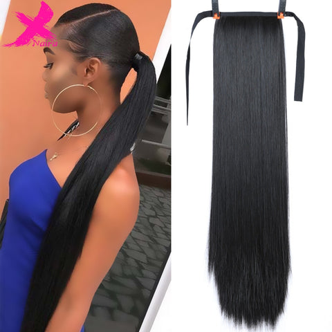 Xnaira Afro Long Straight Drawstring Ponytail Hair Extensions