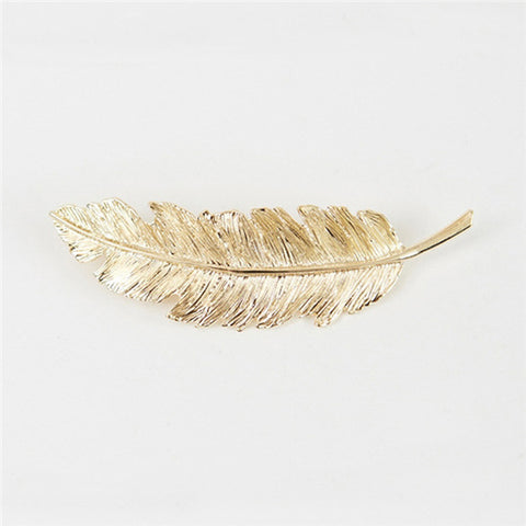 Plated Gold Silver Metal Alloy Leaf Olive Branch Feather Headdress Hair Clip Pin