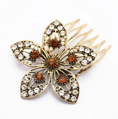 Bejeweled Flower Hair Comb