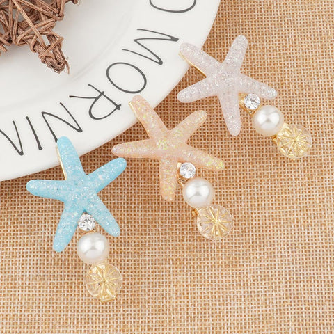 Asymmetric Glitter Starfish Hairpins | 2 Piece Set