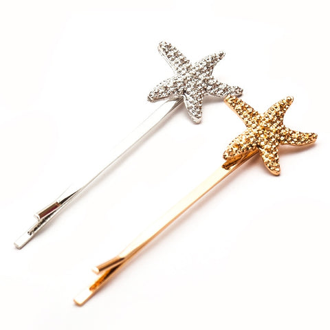 Starfish Gold and Silver Pearl Hairpin Accessories Hair Clip