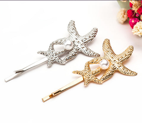 Double Starfish Pearl Hairpin