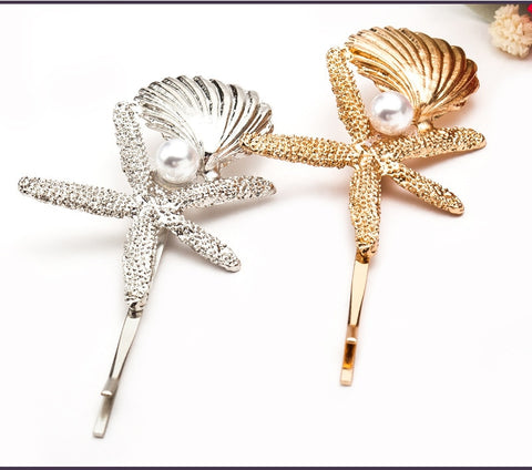 Starfish and Seashell Pearl Hairpin