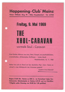 KRAUTROCK FLYER FOR XHOL-CARAVAN AT HAPPENING-CLUB, MAINZ, GERMANY, 1969