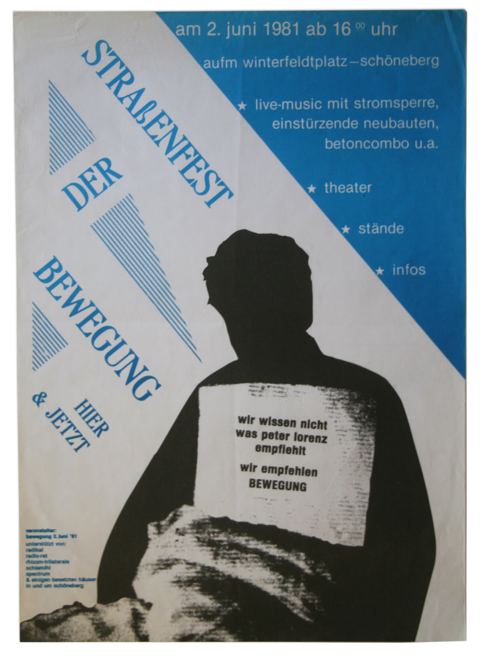 [EINSTUERZENDE NEUBAUTEN; ANARCHISM] STREET FESTIVAL FOR THE 2 JUNE MOVEMENT (HERE AND NOW)—POSTER—JUNE 2, 1981, SCHOENEBERG, BERLIN