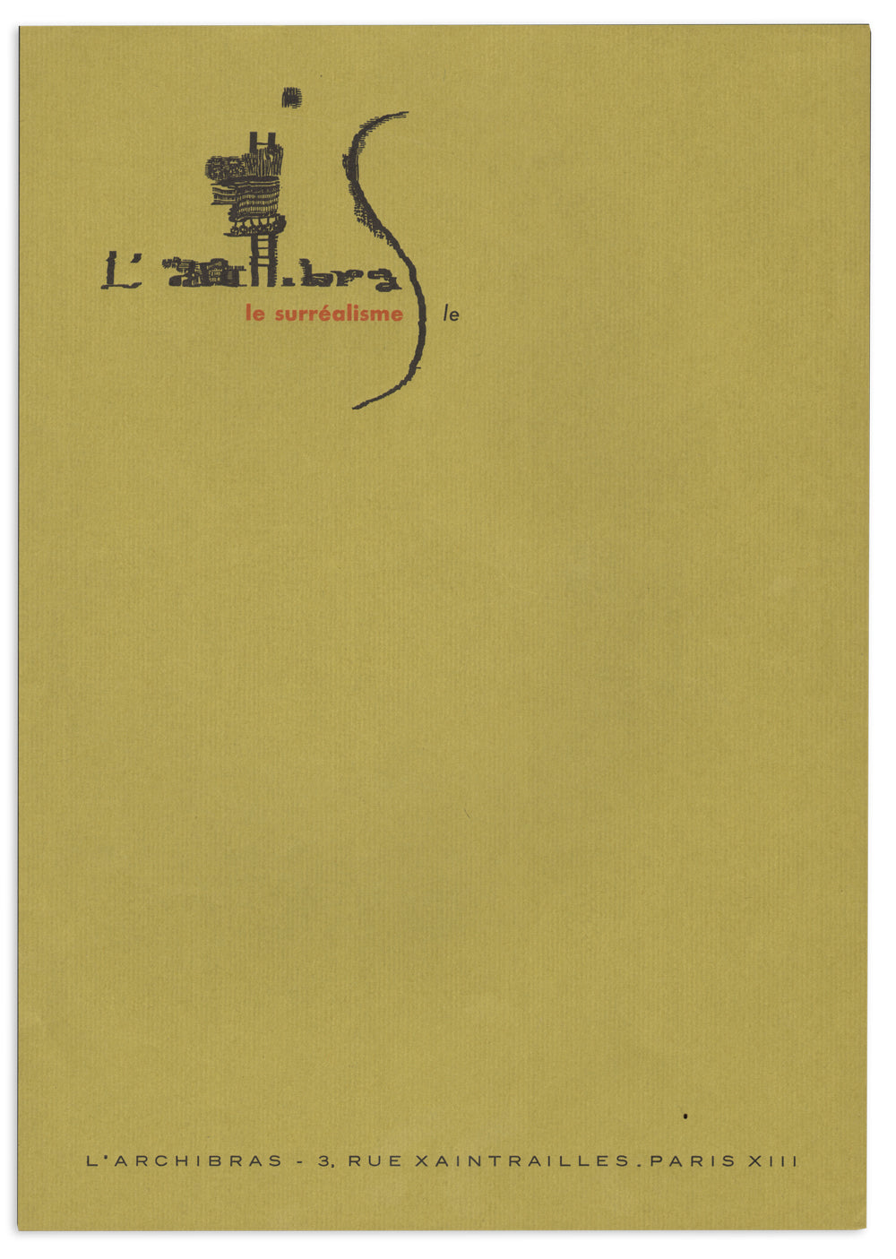 Sheet of Blank Letterhead from L'Archibras, Surrealist Periodical