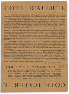 Cote d'alerte: Surrealist Declaration, 1956