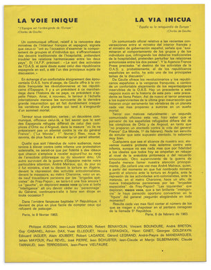 Bilingual Surrealist Declaration, 1963: La Voie inique. La Via inicua.