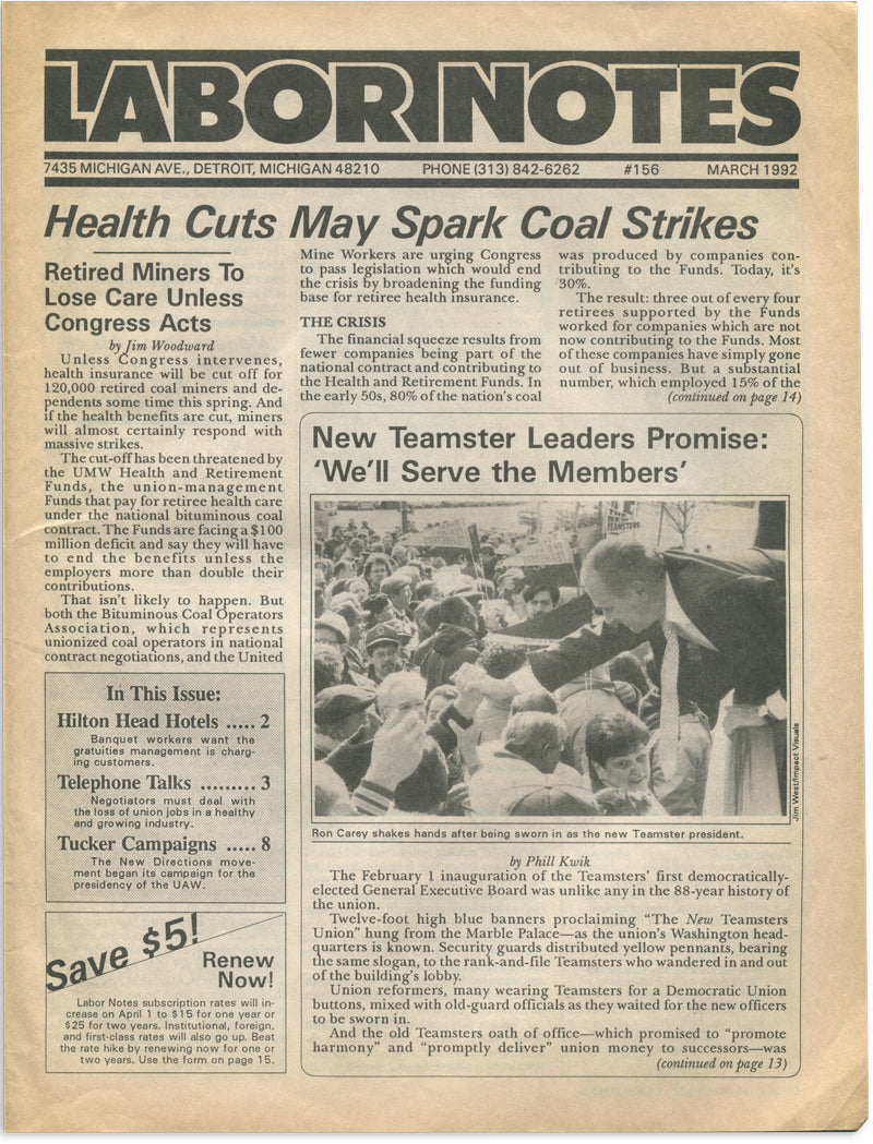 [Detroit Unions] Labor Notes, 13 Issues, 1989–1992