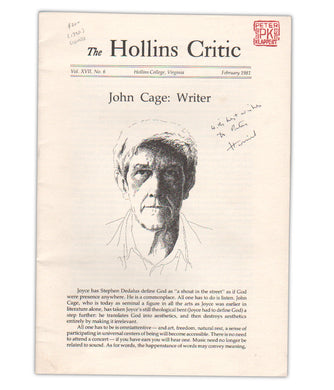 The Hollins Critic, John Cage: Writer