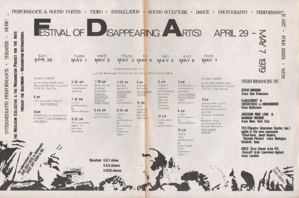 Festival of Disappearing Arts, Baltimore, 1979: Flyer and Poster