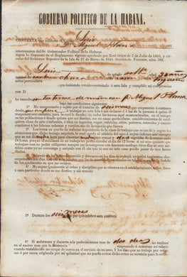 Indentured Servant Contract for a Chinese Laborer in 19th-Century Cuba