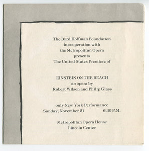 "Announcement for the American Premiere of ""Einstein on the Beach,"" 1976"