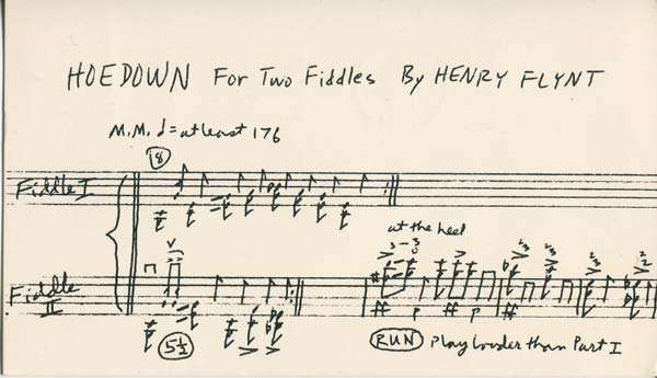 HENRY FLYNT TAPE CONCERT: HOEDOWN FOR TWO FIDDLES (Postcard Announcement)