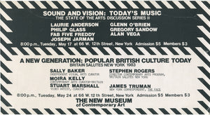[Panel Announcement] Alan Vega/Joseph Jarman/Laurie Anderson/Phillip Glass and Others, 1983
