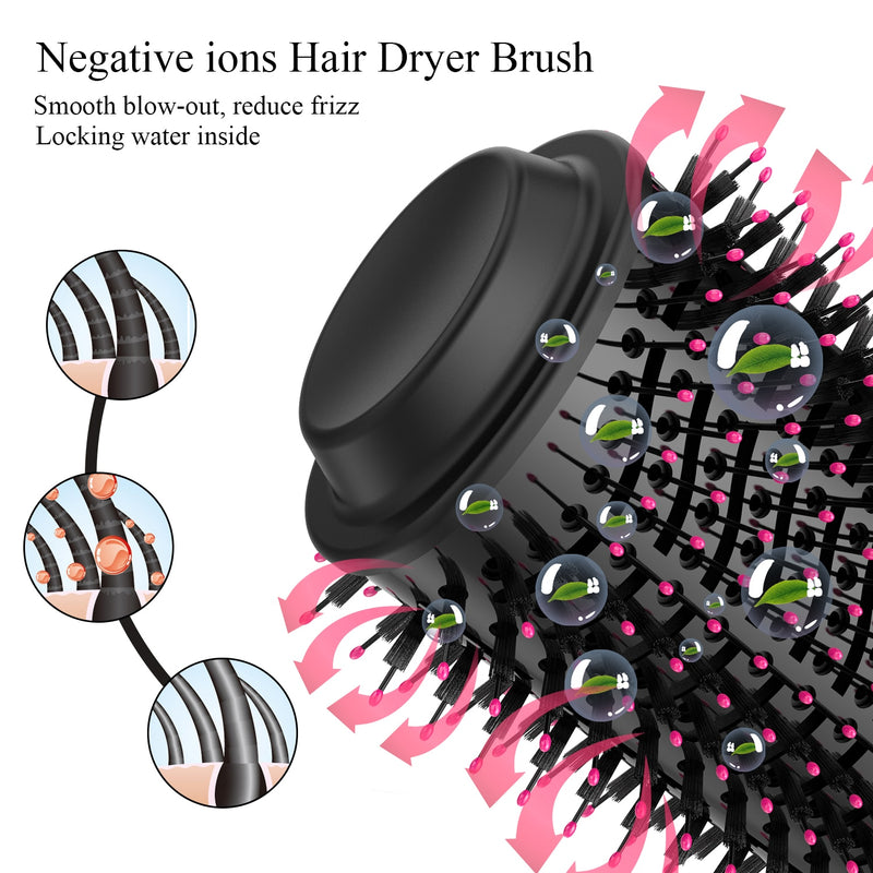 1000W Hair Dryer Hot Air Brush Styler and Volumizer Hair Straightener - peakmonk