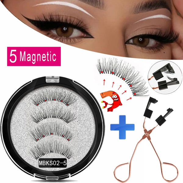 MB Magnetic Eyelashes with 5 Magnets 3D Mink False Eyelashes - peakmonk