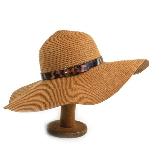 Folding sunhat with leopard print band