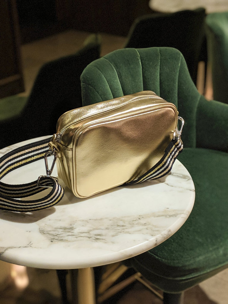 Caroline Gardner Gold Bag With Strap