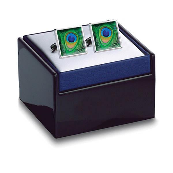 Peacock cufflinks by Fox & Chave