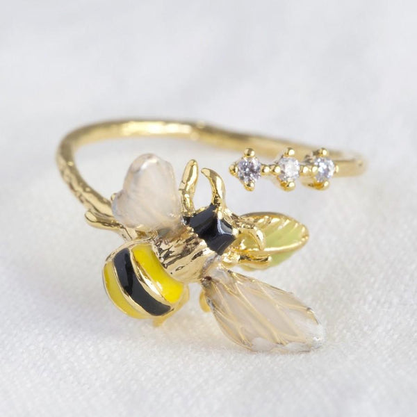 Bumble bee adjustable ring