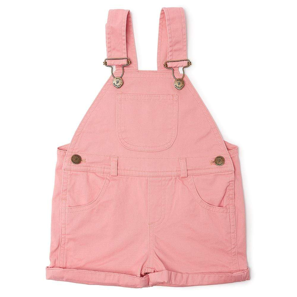 Pink short dungarees for baby girls