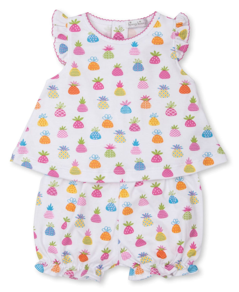 Pineapple multicoloured baby girl suit with shorts