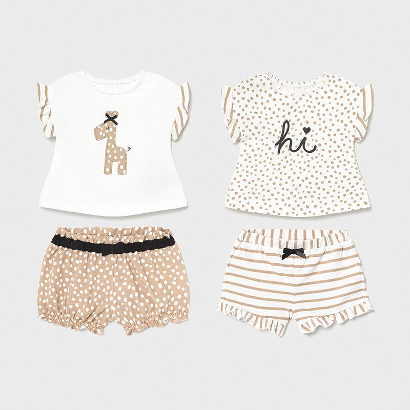 4 piece baby girl clothing set with giraffe print and dotty print