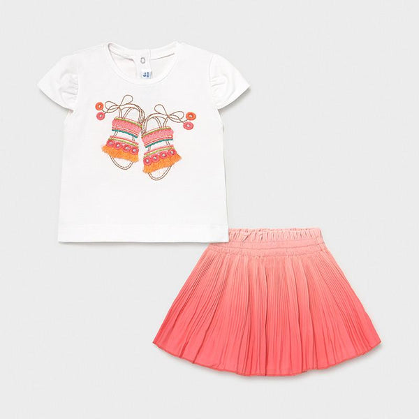 Coral t-shirt and skirt set from Mayoral