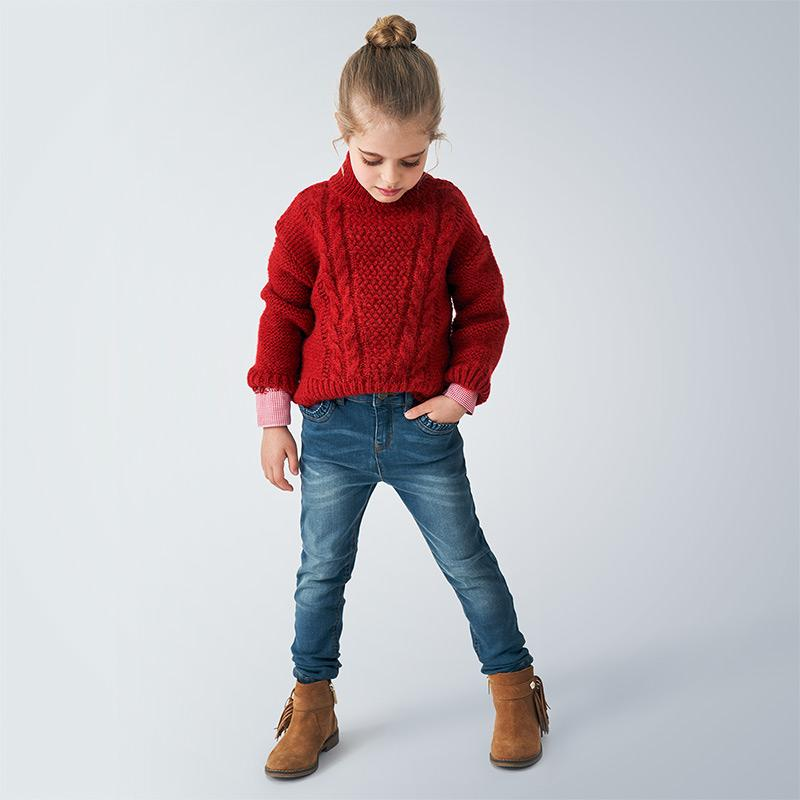 Red knitted girls jumper by Mayoral