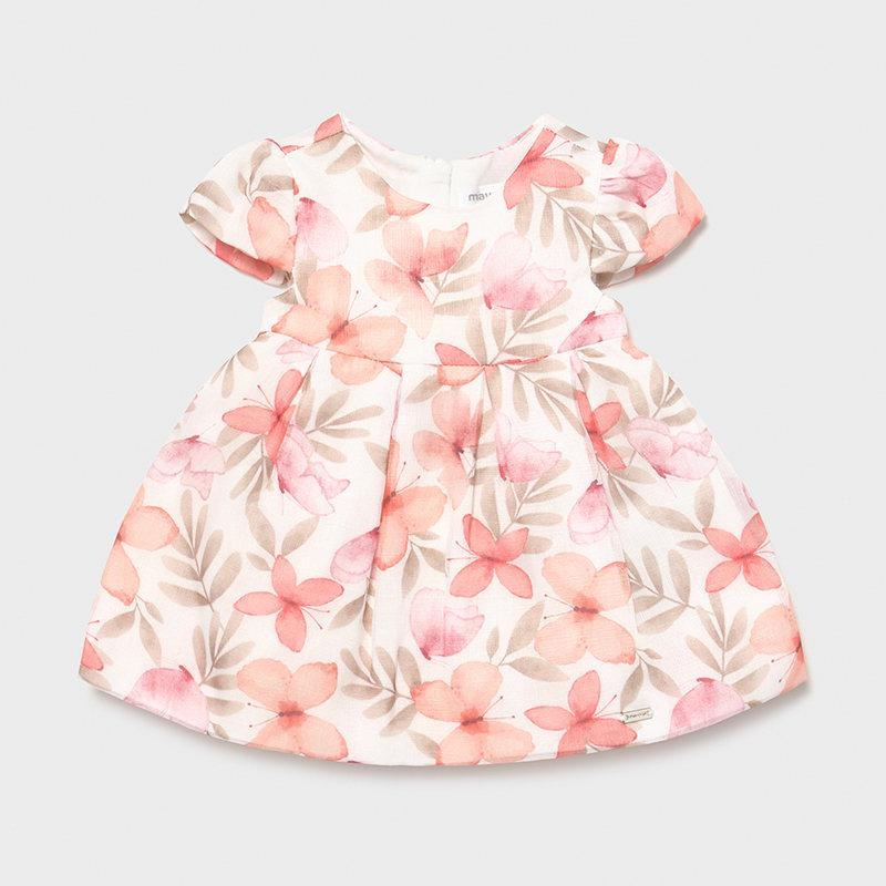Baby girl clothes pink floral knee length dress