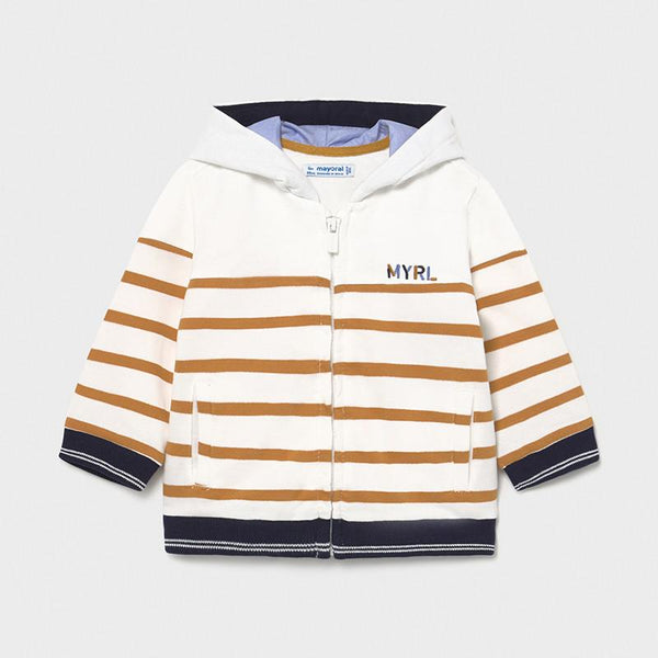 Caramel Striped Boys Hoodie From Mayoral