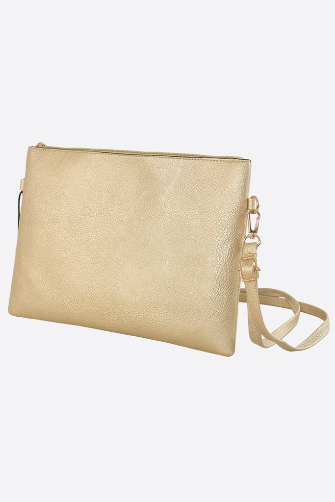Gold cross body clutch bag