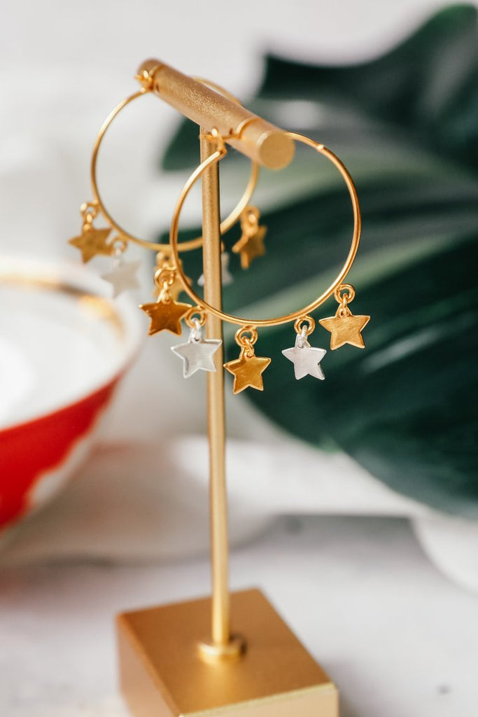 Star hoop gold earrings