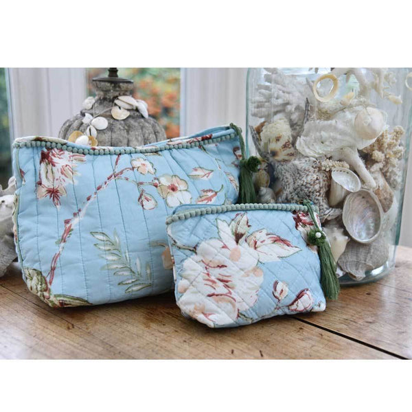 Blue floral print wash bags in size small and large