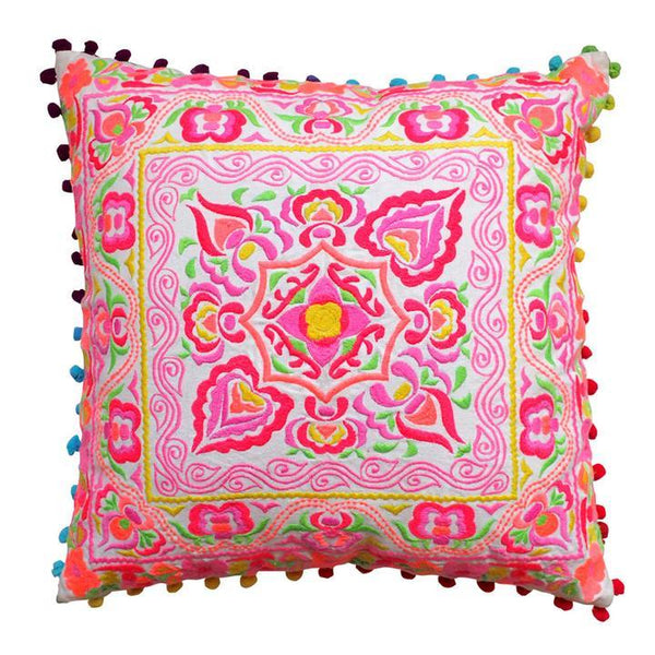 Embroided pink cushion by Bombay Duck